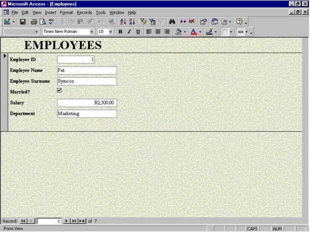 Access Database: form fill-in example