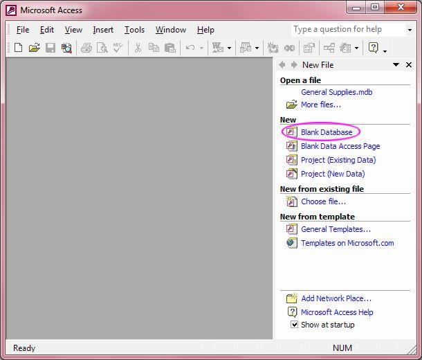 Microsoft Office Access: Startup Task Pane