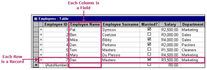 Access database: table layout example