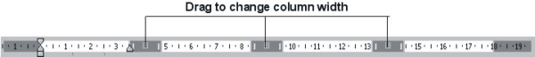 Microsoft Word Help: Columns on ruler example
