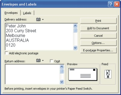 Word Envelopes: envelopes dialog box