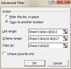 Excel Filter: Advanced Filter dialog box after selection