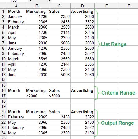 Excel Filter: Advanced Filter example 1