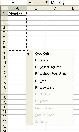 Excel for Dummies: AutoFill pop-up menu