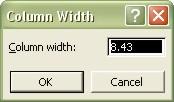 Microsoft Office Excel: Column Width dialog box