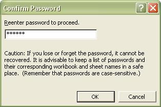 Excel Password: Confirm Password dialog box