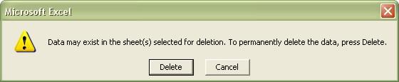 Excel Worksheets confirm deletion dialog box