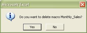 Excel Macros: Delete macro confirmation