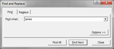 How to use Microsoft Excel Find dailog box