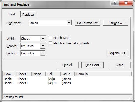 How to use Microsoft Excel: Find dialog box expanded