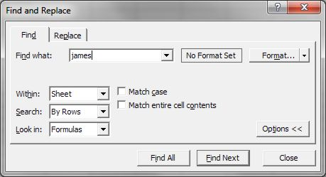 How to use Microsoft Excel: Find dialog box