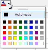 Color palette for Excel content: Font Color button