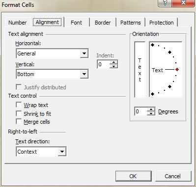 Microsoft Office Excel: Format Cells dialog box - Alignment tab