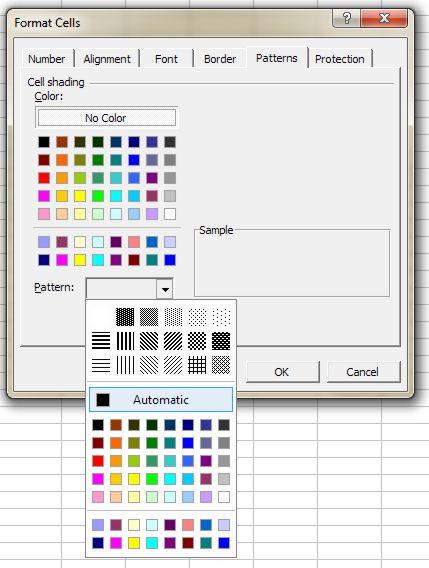 Color Palette for Excel: Format Cells - Patterns tab dialog box 2