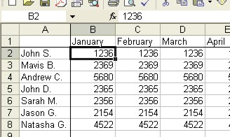 Excel Worksheets: Freeze Panes example 1