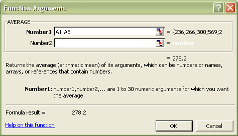 Excel Functions: Function Arguments dialog box