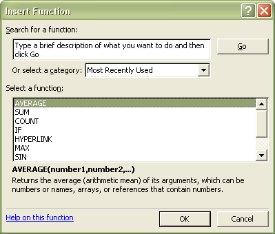 Excel Functions: Insert Function dialog box