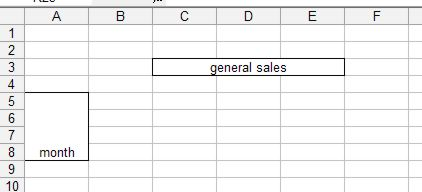 Microsoft Office Excel: Merged cells example