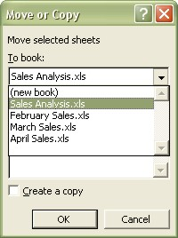 Excel Worksheets Move or Copy dialog box