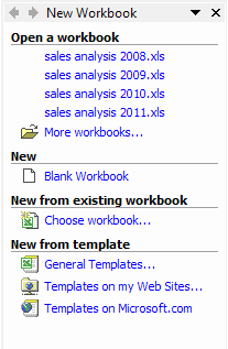 Excel Templates: New workbook task pane