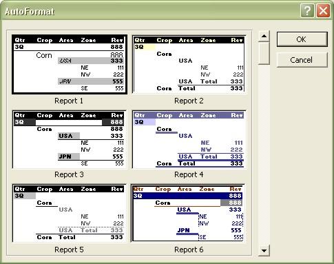Excel Pivot Table AutoFormat dialog box
