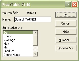 Excel Pivot Table Field dialog box