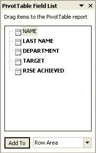 Excel Pivot Table Field List