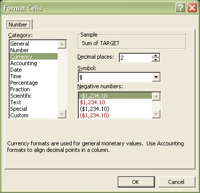 Excel Pivot Table Format Cells Number dialog box