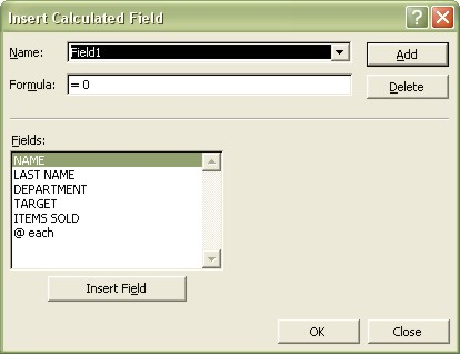 Excel Pivot Table: Insert Calculated Field dialog box 1