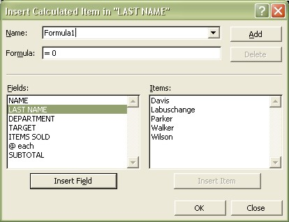 Excel Pivot Table: Insert Calculated Item dialog box example 1