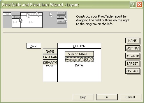 Excel Pivot Table Wizard Layout dialog box
