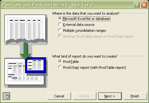 Excel Pivot Table Wizard step 1 dialog box