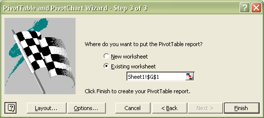 Excel Pivot Table Wizard step 3 dialog box