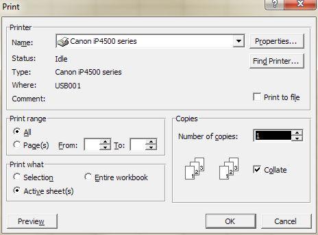 Excel Printing: Print dialog box