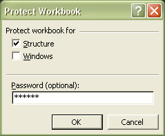 Excel Password: Protect Workbook dialog box