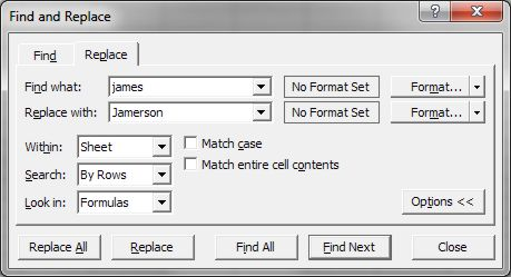 How to use Microsoft Excel Replace dialog box 2