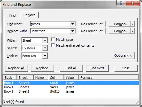 How to use Microsoft Excel Replace dialog box expanded