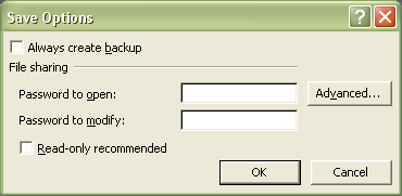Excel Password: Save Options dialog box