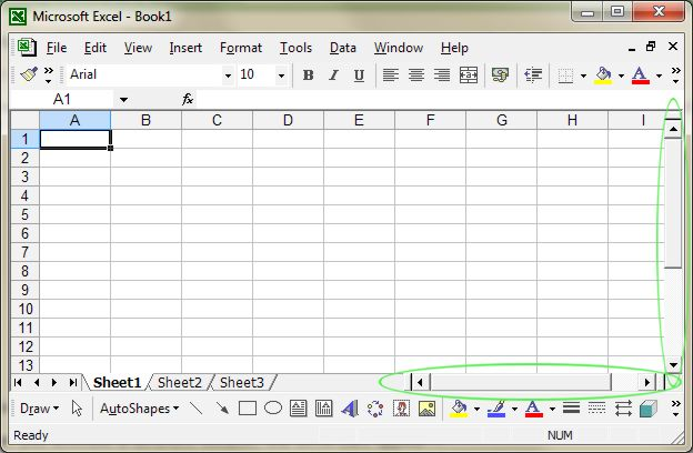 Microsoft Office Excel: Scroll Bars example