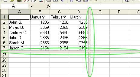 Excel Worksheets: Split Window example 1