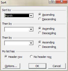 Advanced Excel Sort dialog box