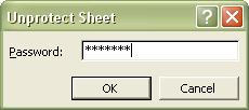 Excel Password: Unprotect Sheet dialog box