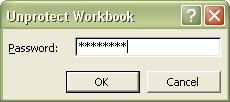 Excel Password: Unprotect Workbook dialog box