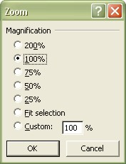 Excel Worksheets: Zoom dialog box