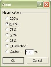 Excel Worksheets: Zoom dialog box