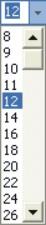 Microsoft Word Fonts: font size drop-down list box