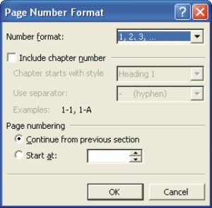 Microsoft Word Help: page number format dialog box