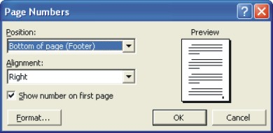 Microsoft Word help: page numbers dialog box