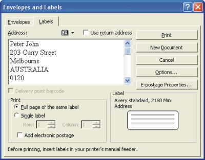 Word Labels : Envelopes and Labels dialog box at Labels tab