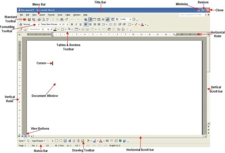 Microsoft Word help: on-screen elements